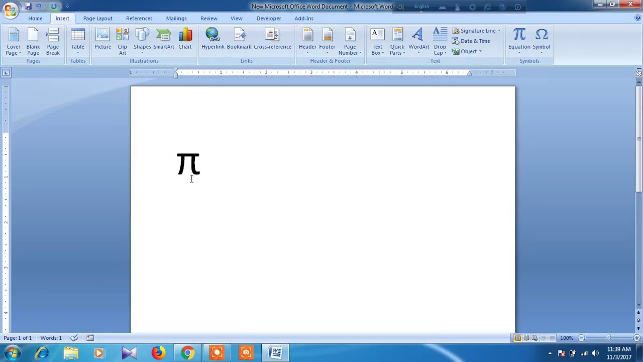 how to get pi on word