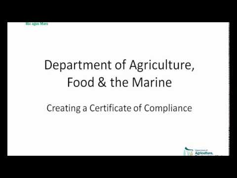 Apply for a Compliance Certificate   DAFM AIM tutorial video
