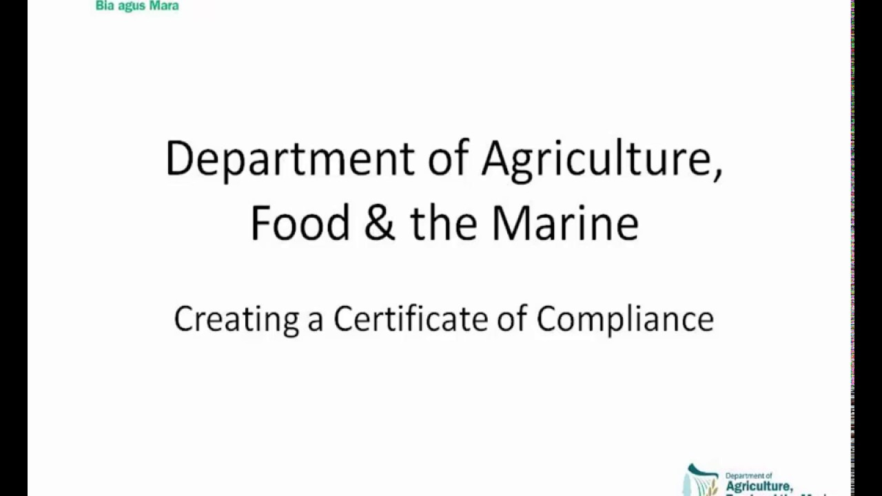 Apply For A Compliance Certificate Dafm Aim Tutorial Video Youtube