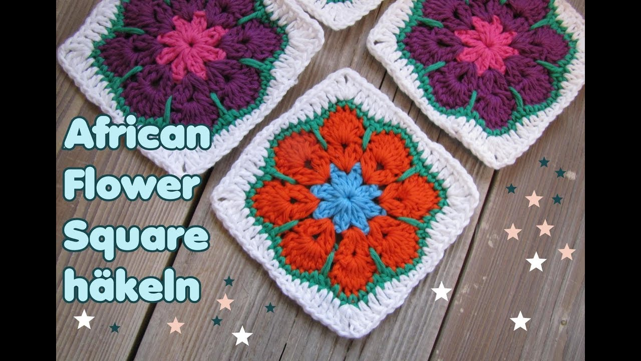 African Flower Granny Square Häkeln Quadrat Youtube