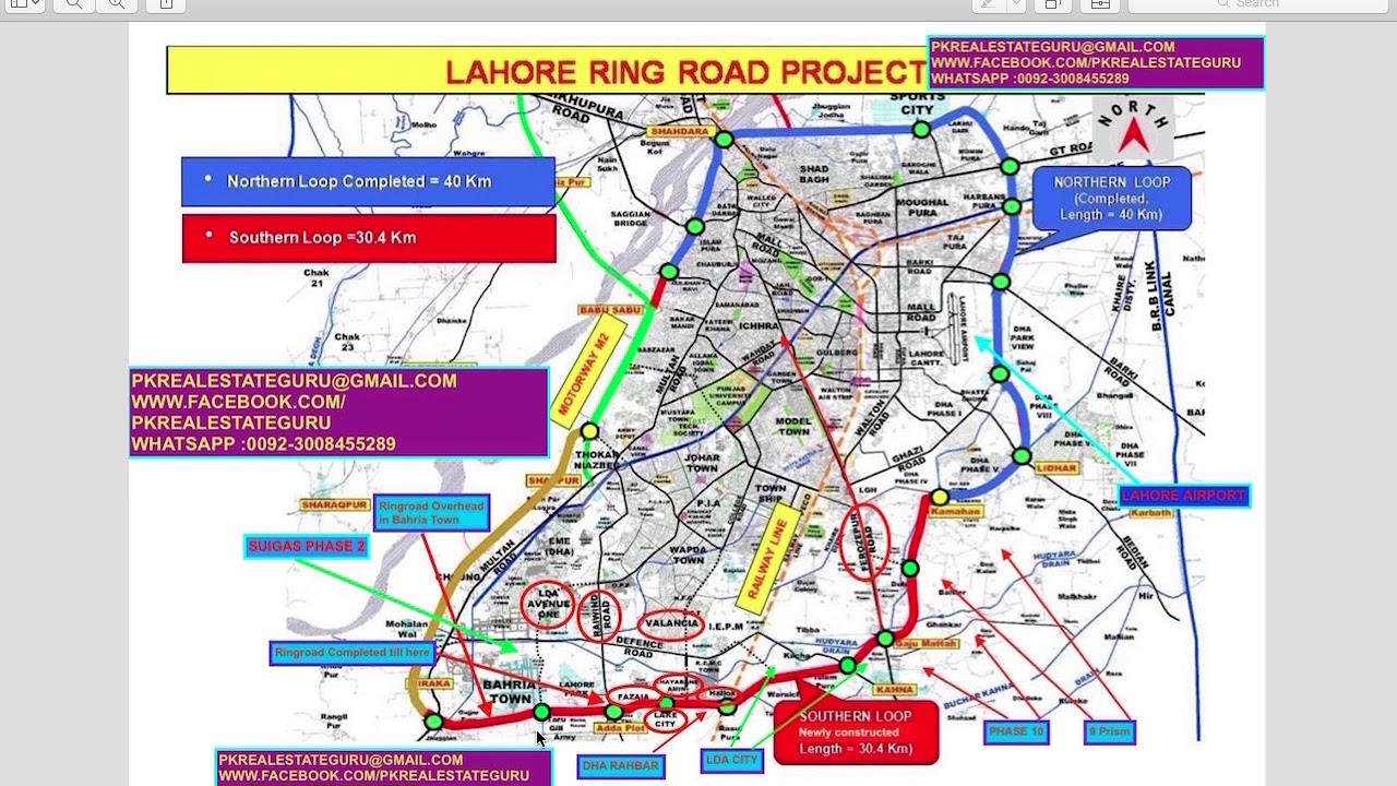 INFORMATION RING ROAD SOUTHERN LOOP MAP LAHORE YouTube