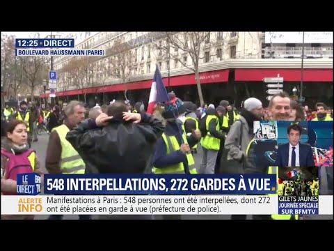 À Paris, des dizaines de gilets jaunes se rendent boulevard Haussmann