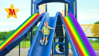 Fun Playground For Kids Max Plays and Rides Big Slides For Children IRL