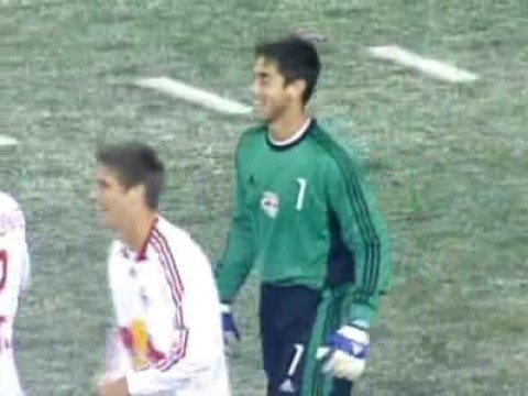 Goalkeeper Danny Cepero scores, New York vs Columbus