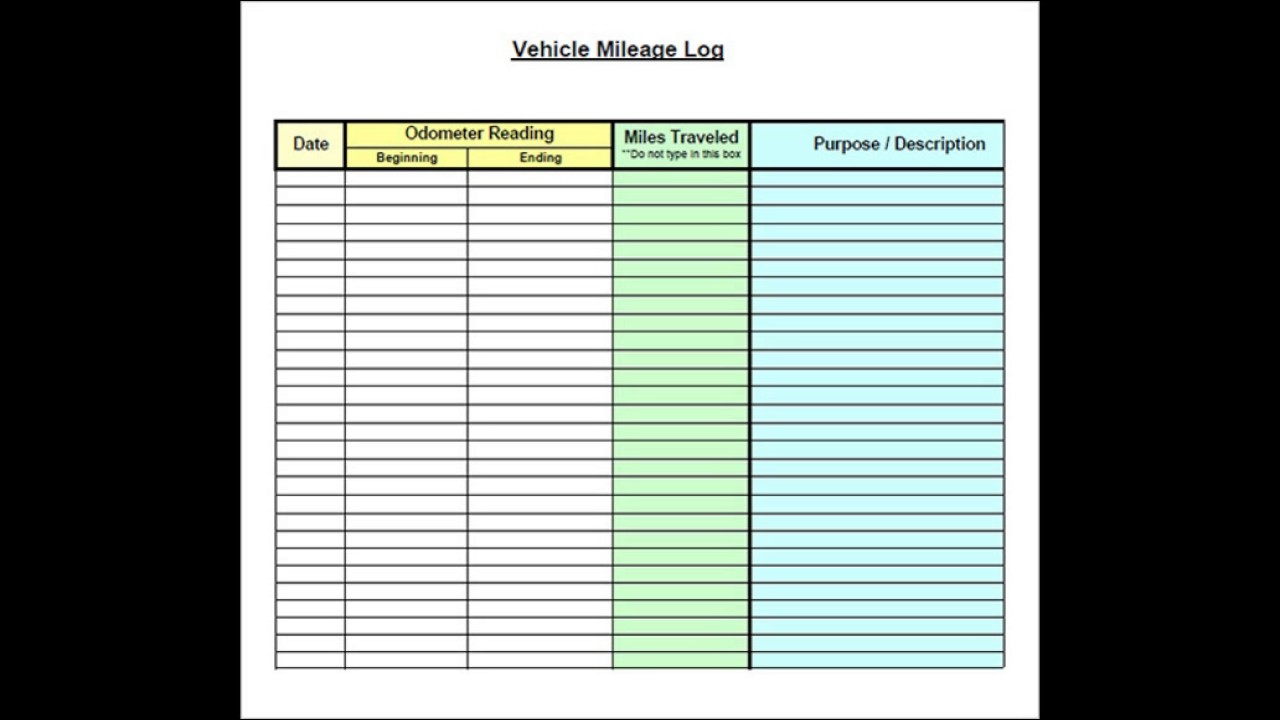 vehicle mileage log template excel youtube