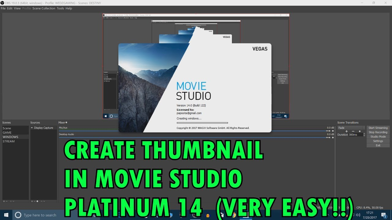 how to create a thumbnail in movie studio platinum 14 for
