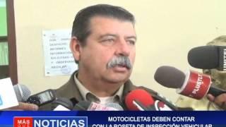 MOTOCICLETAS  DEBEN CONTAR CON LA ROSETA DE INSPECCIÓN VEHICULAR