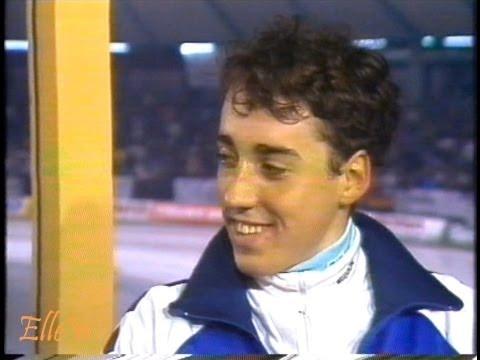 European Championships Allround Heerenveen 1990 - after 5 km interview Veldkamp