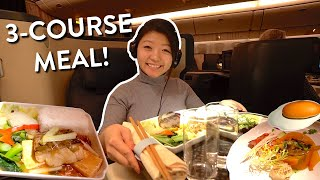 China Airlines BUSINESS CLASS FOOD Review ✈️ Taipei to JFK New York