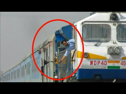 """TOKEN EXCHANGE"" Aggressive Train Driver Risking his Life - Indian Railways !!"