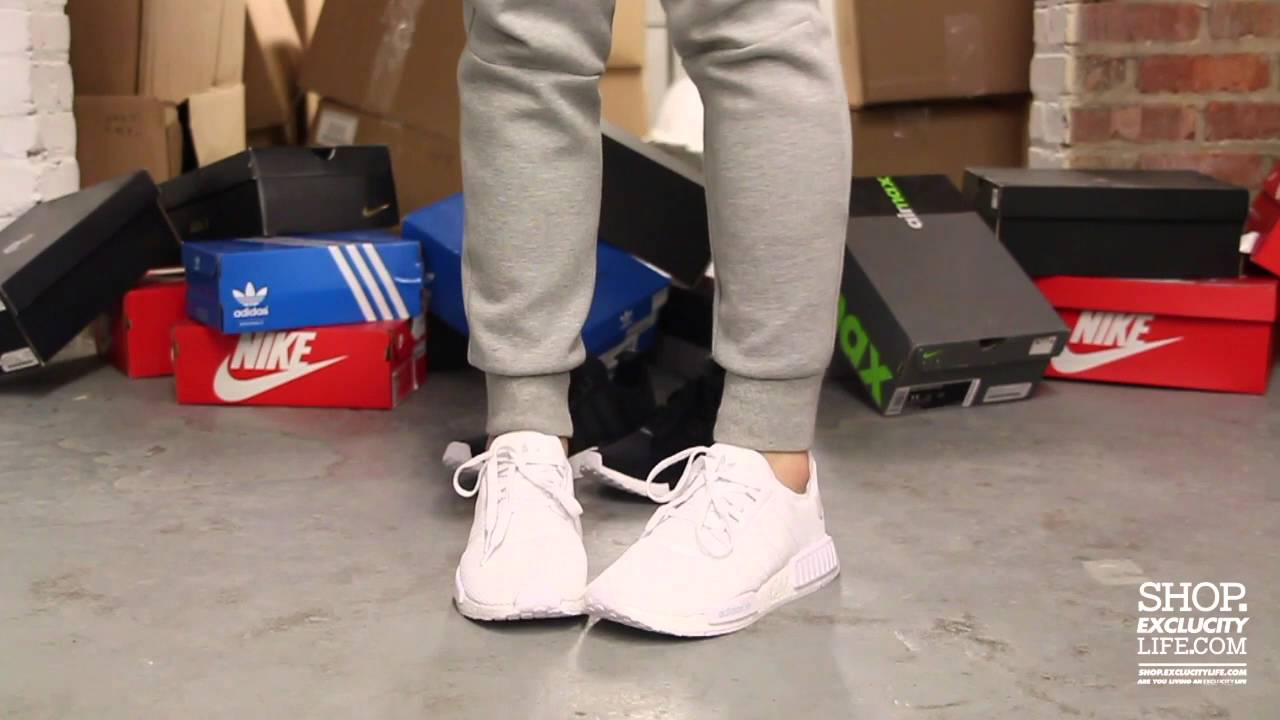 xzbyhu Adidas NMD Runner White - White On feet Video at Exclucity - YouTube