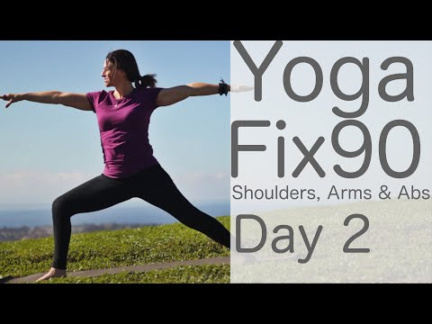40 Minute Yoga Fix 90 Day 2 Shoulders, Arms & Abs Workout | Fightmaster Yoga Videos