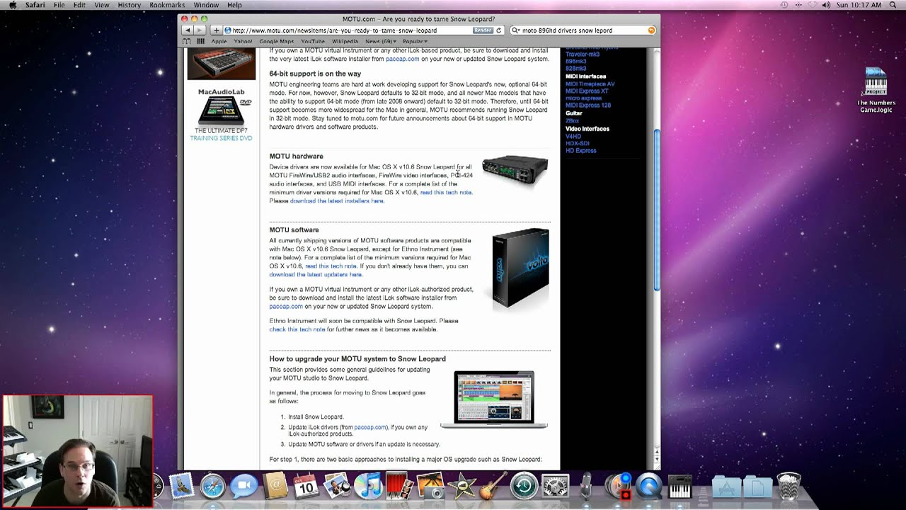 Get the Motu Drivers for iMac and Logic 9  Part 5
