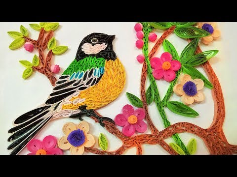 Paper art |Quilling Wall Decorations |Quilling bird sitting on Tree | Paper Quilling Art |