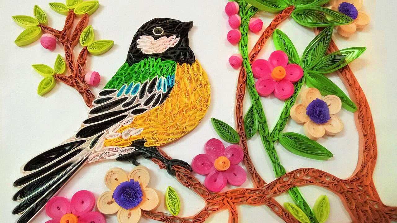 Paper art |Quilling Wall Decorations |Quilling bird sitting on Tree | Paper Quilling Art |  sc 1 st  YouTube & Paper art |Quilling Wall Decorations |Quilling bird sitting on Tree ...