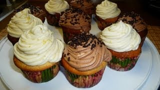 Lemon Cupcakes, Lemon Cream Frosting, Chocolate Mousse Frosting