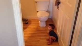 Baby Flushes Toilet