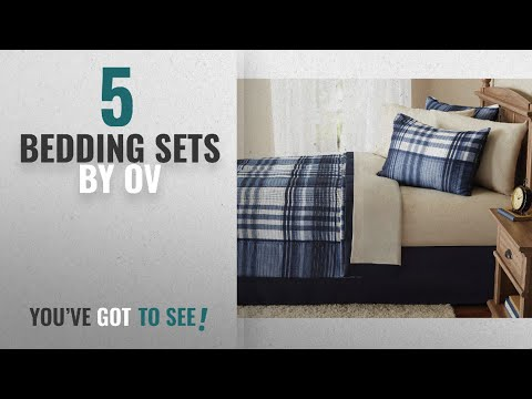 Top 10 Ov Bedding Sets [2018]: 8 Piece Indigo Blue Plaid Checked Comforters Queen Set With Sheets,