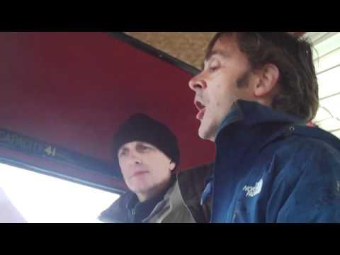 Alec Finlay & Ken Cochburn on board the bus Great Glen Artists Air Show