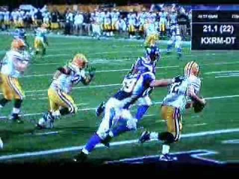 Jared Allen gets a safety on Aaron Rodgers