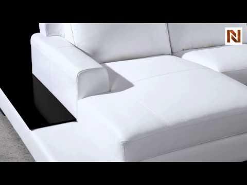 Soho Modern White Leather Sectional Sofa VG2T0537