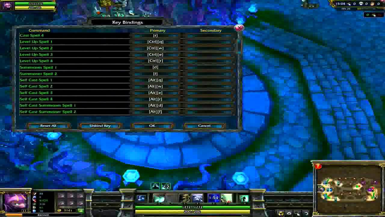 How to change hotkeys in league of legends