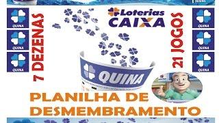 PLANILHA DE DESDOBRAMENTO DA QUINA 7 DEZENAS X 21 JOGOS -DOWNLOAD NA DESCRIÇÃO DO VÍDEO