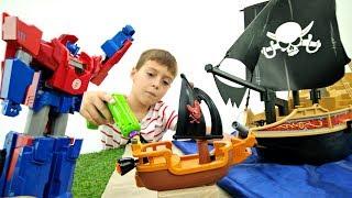 Мультик про роботы Трансформеры. Биск угнал корабль Автоботов