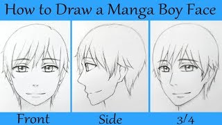 How to Draw a Manga Male Face in Front, Side, and 3/4 View.