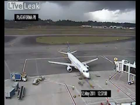 Plane on the ground is hit by lightning. (Colombia).