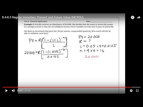 8.4-8.5 Regular Annuities: Present and Future Value (MCR3U)