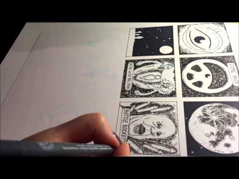 Time-Lapse of Inking a Graphic Novel Page