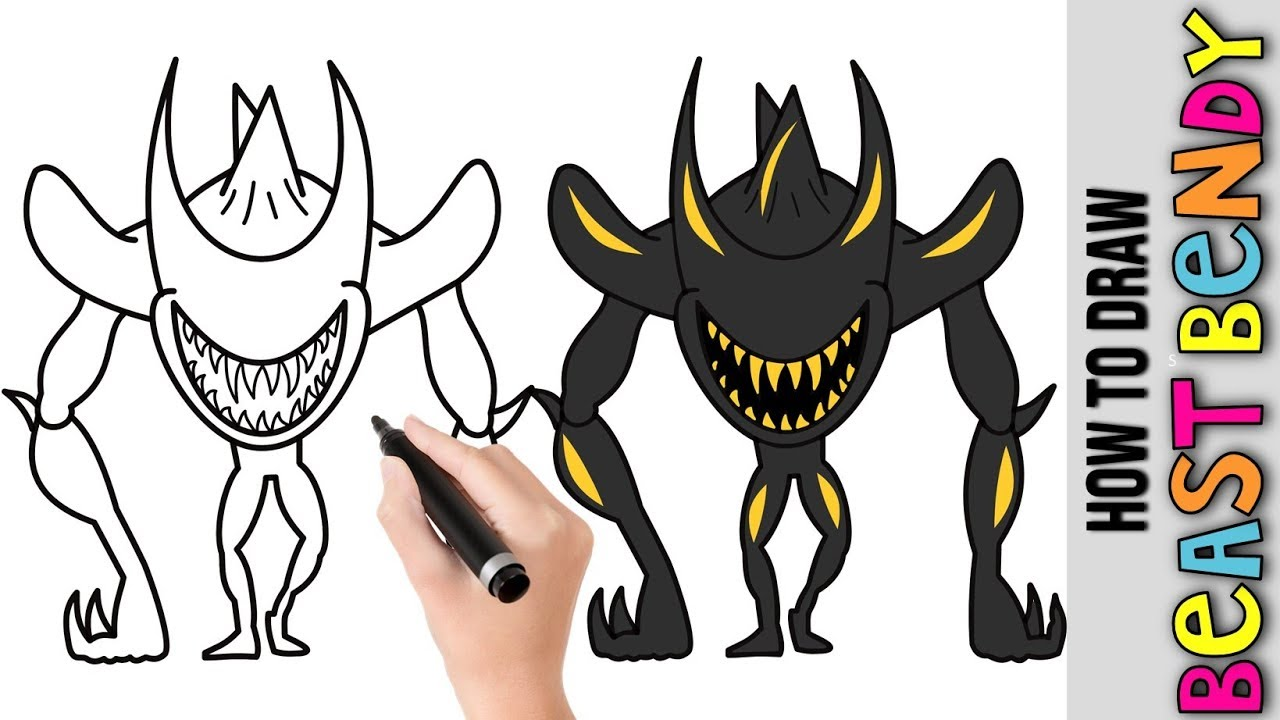 How To Draw Bendy Beast ★ Cute Easy Drawing Tutorial For ...