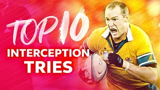 😱 Top 10 Interception Tries | Rugby World Cup
