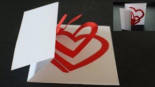 Herz Karte selber basteln mit Papier für Muttertag, Geburtstag, Hochzeit, Valentinstag & Weihnachten