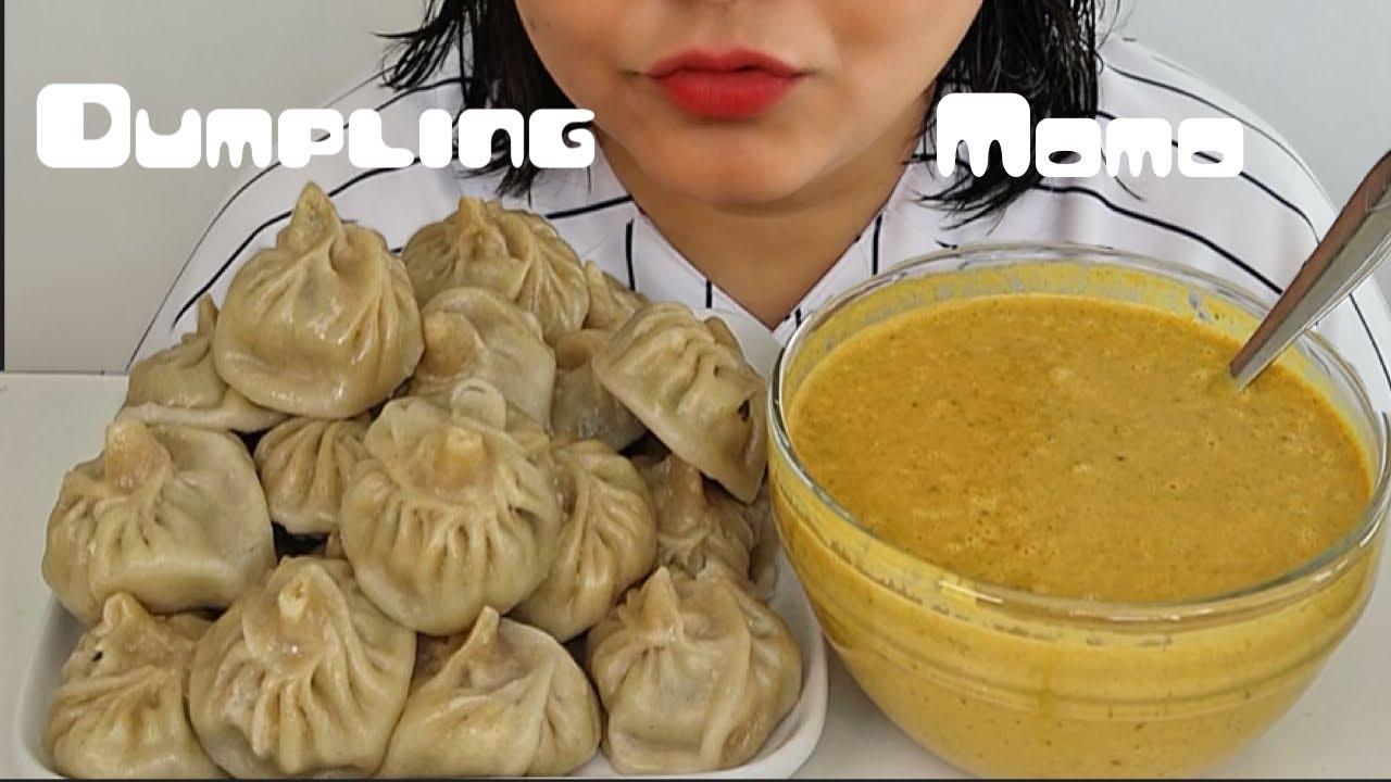 Download MUKBANG/ASMR chicken momo dumpling with spicy chutney eating show