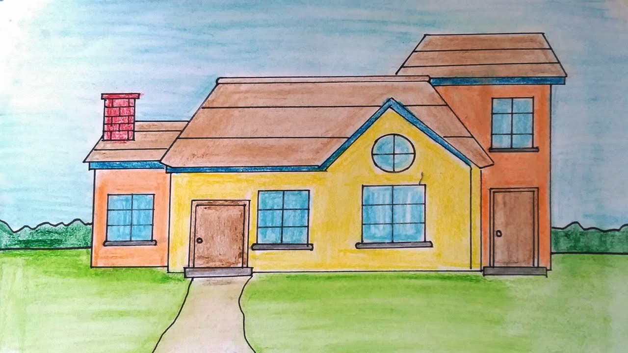 Easy house drawing for class| House and nature easy and ...