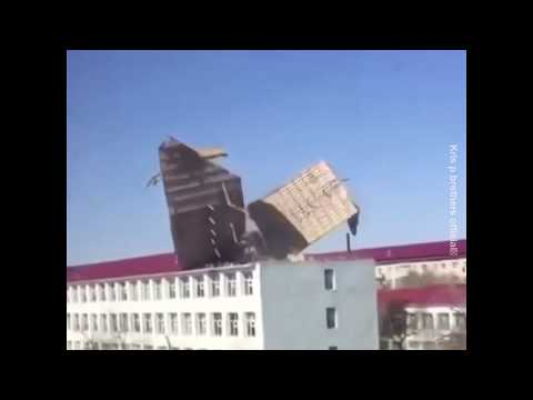 Strong Wind Blows Roofs Off In Kazakhstan