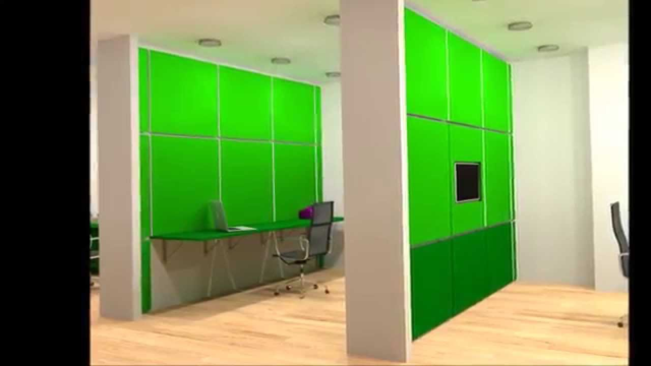 Space Saving Office Idea With Folding Desks And Folding Partition Wall