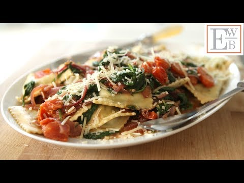 Beth's Spinach Ravioli with Caramelized Onions and Tomatoes | ENTERTAINING WITH BETH