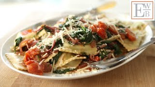 Beth's Spinach Ravioli With Carmelized Onions And Tomatoes