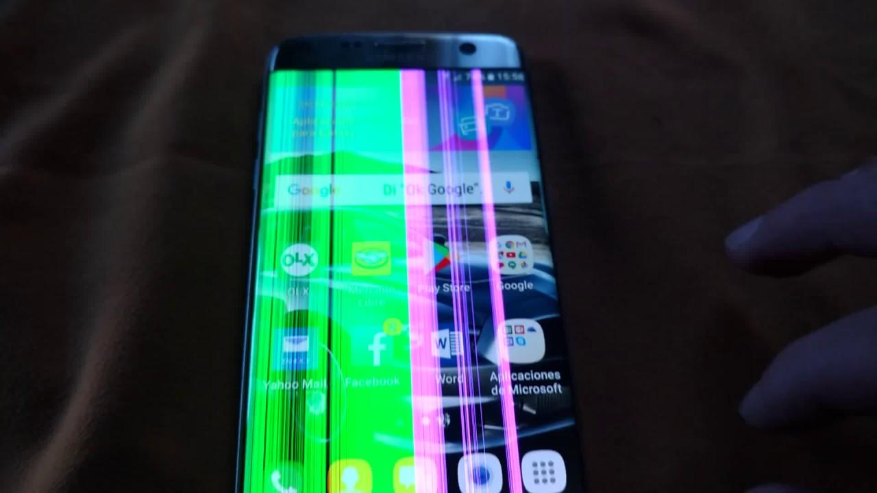 Samsung S7 Edge lineas rosas y verdes - YouTube