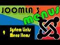 Joomla 3 Tutorials: System Links Menu Items