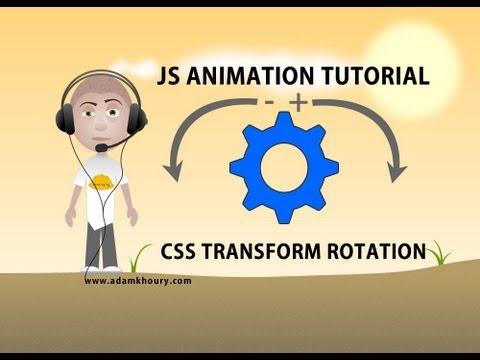 JavaScript animation tutorial HTML CSS transform rotate image spin smooth logo