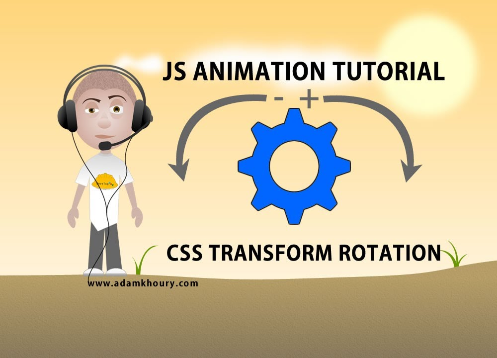 JavaScript animation tutorial HTML CSS transform rotate image spin smooth  logo