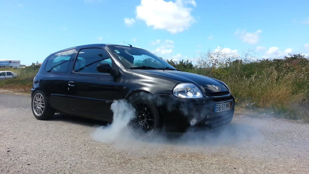 renault clio 1 6 16v turbo burnout youtube. Black Bedroom Furniture Sets. Home Design Ideas