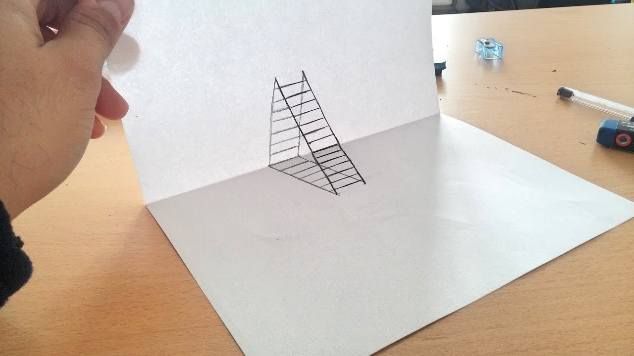 How To Draw 3d Ladder Optical Llusion 3d Drawing Step