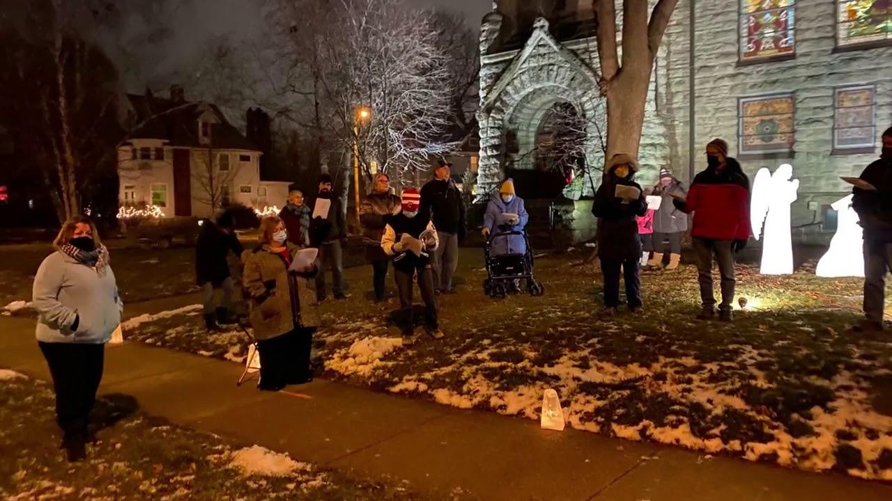 ABUMC - Caroling in the front yard of the Church