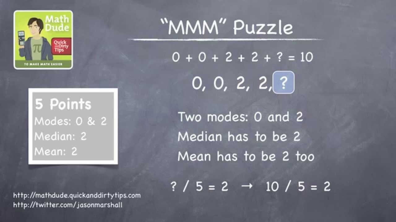 A Puzzle With The Mean, Median, And Mode With Math Dude, Jason Marshall