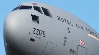 Royal Air Force Boeing C-17 visual Approach with great clouds (HD)